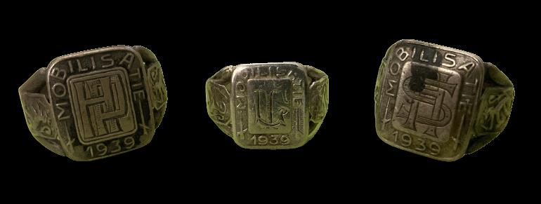Zilveren Mobilisatie Ring met Initialen op Monogram Nederland Paraat 1939 Marine en Landmacht