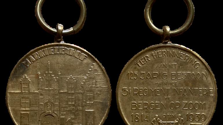 Penning 125 jarig bestaan 3e regiment Infanterie Markiezenhof te Bergen op Zoom 1814 1939