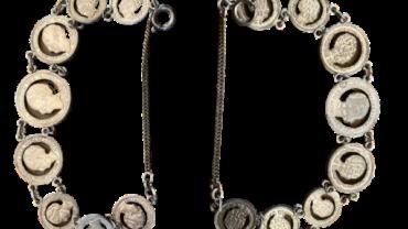 Armband uitgezaagde Wilhelmina munten stil verzet wo2