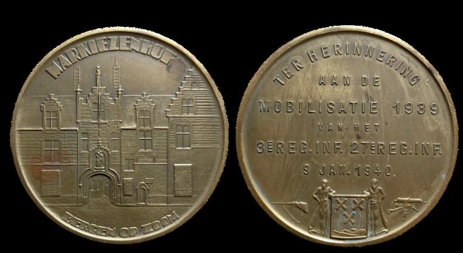 Mobilisatie 1939 penning 3e en 27e Regiment Infanterie Markiezenhof te Bergen op Zoom 1940